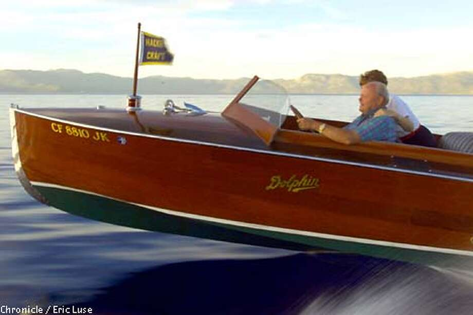 Bill and Mary Jo Shepard's 1926 Hacker Craft Runabout called Apache on Lake Tahoe. (BY ERIC LUSE/THE SAN FRANCISCO CHRONICLE) Photo: ERIC LUSE