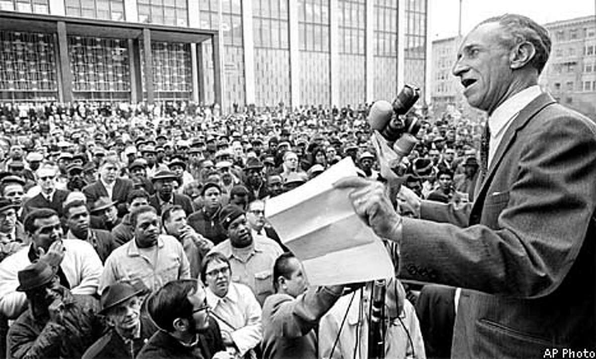 Harry Bridges addresses a rally in 1965. Photo by Associated Press.