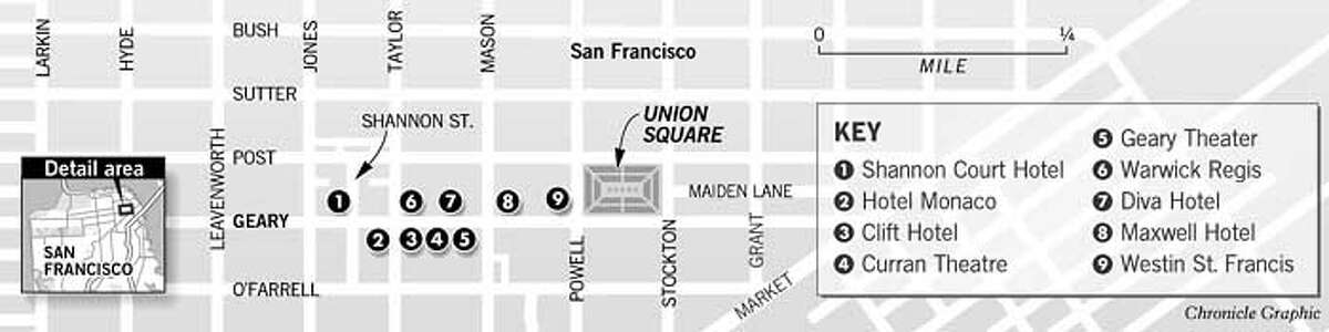 San Francisco's Theater District. Chronicle Graphic