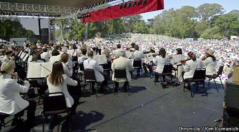 The San Francisco Symphony performs in Golden Gate Park's Sharon Meadow, guest conductor George Daugherty at the helm.  CHRONICLE PHOTO BY KIM KOMENICH Photo: Kim Komenich