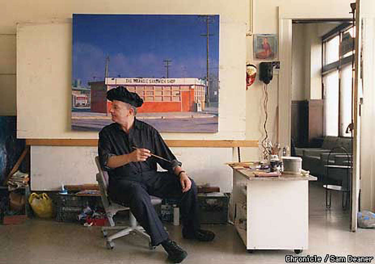 Artist Richard Perri, in his S.F. studio, was about to work on his oil painting, ``The Triangle Sandwich Shop.'' Chronicle Photo by Sam Deaner