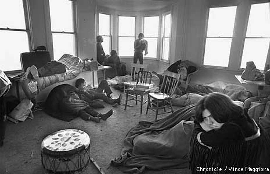 The first day the indians occupied Alcatraz ,getting some rest in the wardens home  by Vince Maggiora Photo: VINCE MAGGIORA