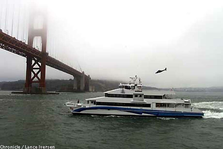 CATAMARAN-C-22JUL01-MT-LI  The Golden Gate Bridge , Highway & Transportation Dist unvaled it's new high speed ferry sunday when it passed under the Golden gate Bridge for the first time. The M.V. Mendocino will go into service Sept 10th, after spending the next six weeks in dry-dock for a full inspection after it's maiden trip from Freeland Washington. that started on July 16th. The Mendocino was built by Nichols Bros. Boat Builders, Inc. By LANCE IVERSEN/SAN FRANCISCO CHRONICLE Photo: LANCE IVERSEN