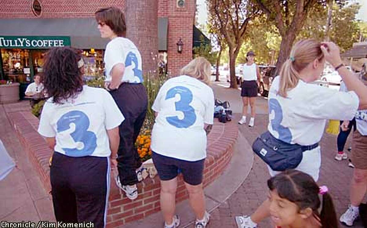 CCAVON20f-C-11JUL01-CF-KK Women from several Bay Area counties join a training group in Pleasanton ( at our urging) to be photographed for setup piece on the Avon 3-Day Breast Cancer Walk. Per editor's request, something for a detail. CHRONICLE PHOTO BY KIM KOMENICH