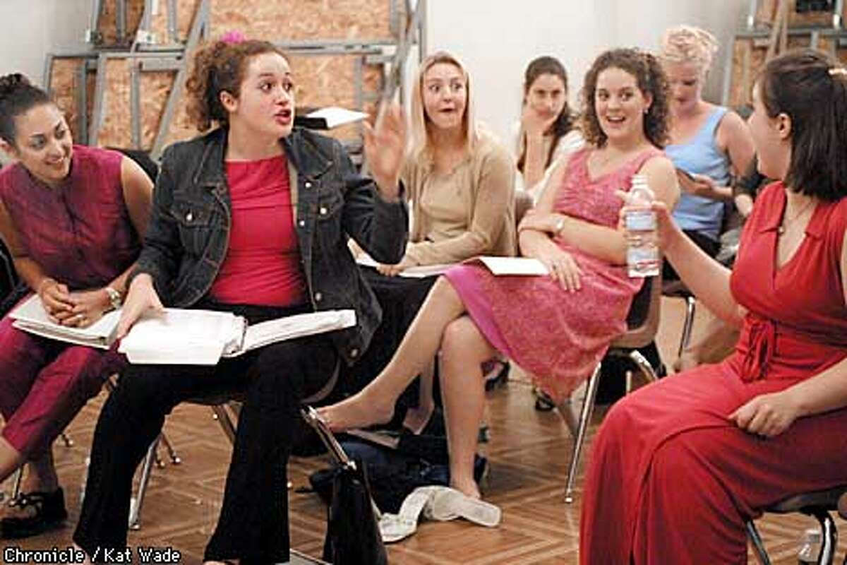 Lauren Germinario, of Texas, Kathryn Moriarty, of New York, Jessica Ferris, of Chico Naomi Kimmerling, of San Francisco Joanna Baylor, of Chico Erin Inglish, of Atascadero, rave to Halley Gilbert, of New Jersey, after she sang her first live aria at the San Francisco Girls Chorus building in San Francisco during an opera training program for teenage girls. SAN FRANCISCO CHRONICLE PHOTO BY KAT WADE