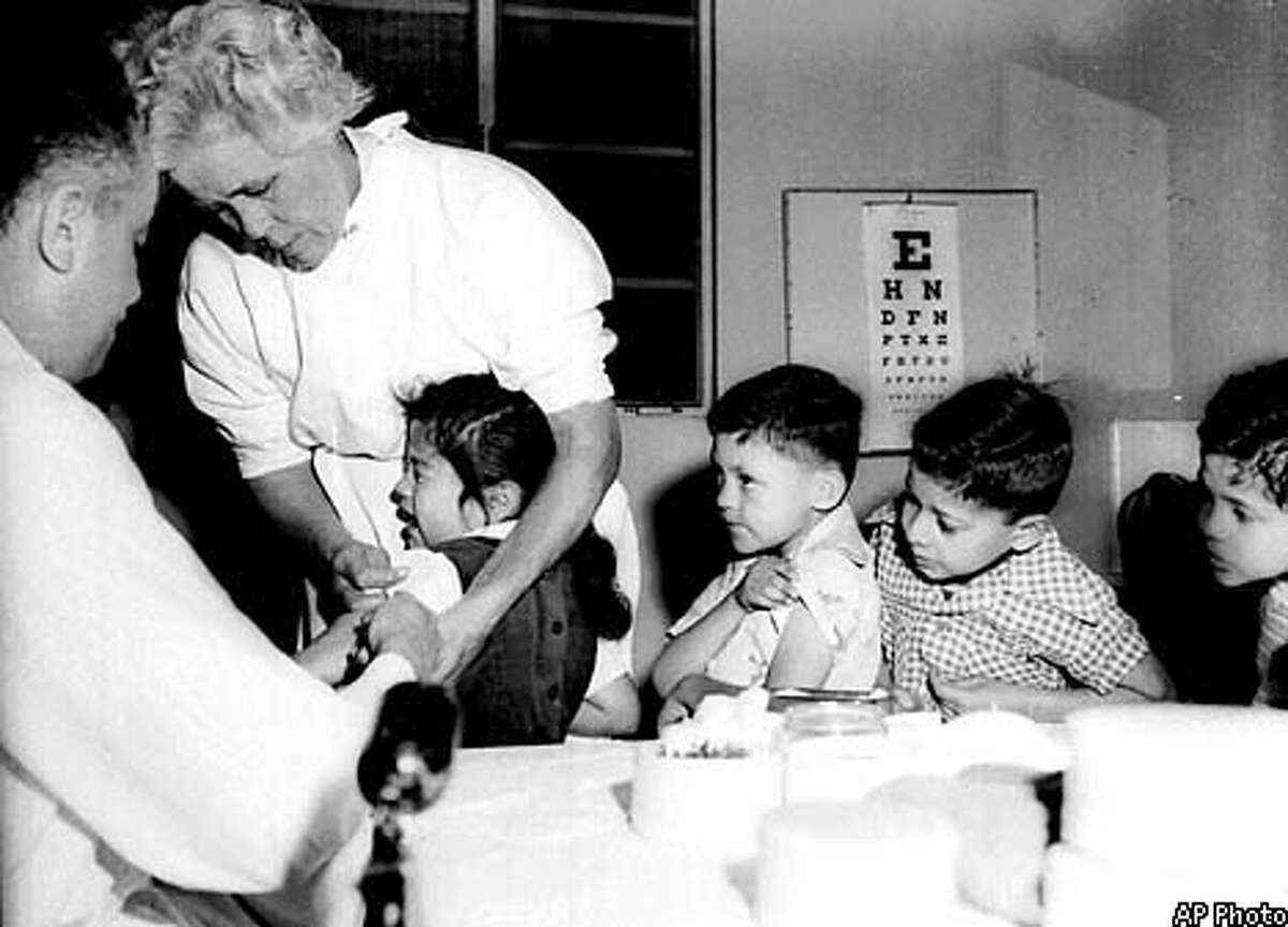 Students at St. Vibiana's school in Los Angeles were among the first to receive the Salk vaccine. Associated Press File Photo