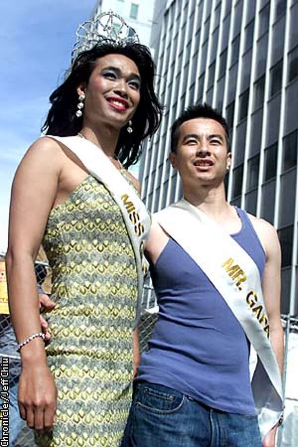 Anthony Chen, 25, the reigning Miss GAPA, and Ed Tepporn, 27, Mr. GAPA, spoke at the San Francisco Pride Parade last month. Chronicle photo by Jeff Chiu