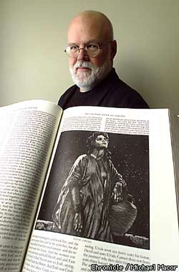 "Noted Illustrator Barry Moser with his new edition of the Bible that contains original Etchings. Etching of ""Bath-Seba"" in the second book of Samuel. by Michael Macor/The Chronicle Photo: MICHAEL MACOR"