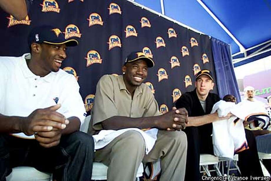 The Golden State Warriors introduced their three draft picks thursday at a press conferance held at Oakland's City Center plaza. L to R Gilbert Arenas,Jason Richardson, and Troy Murphy talk to the media. By LANCE IVERSEN/SAN FRANCISCO CHRONICLE Photo: LANCE IVERSEN