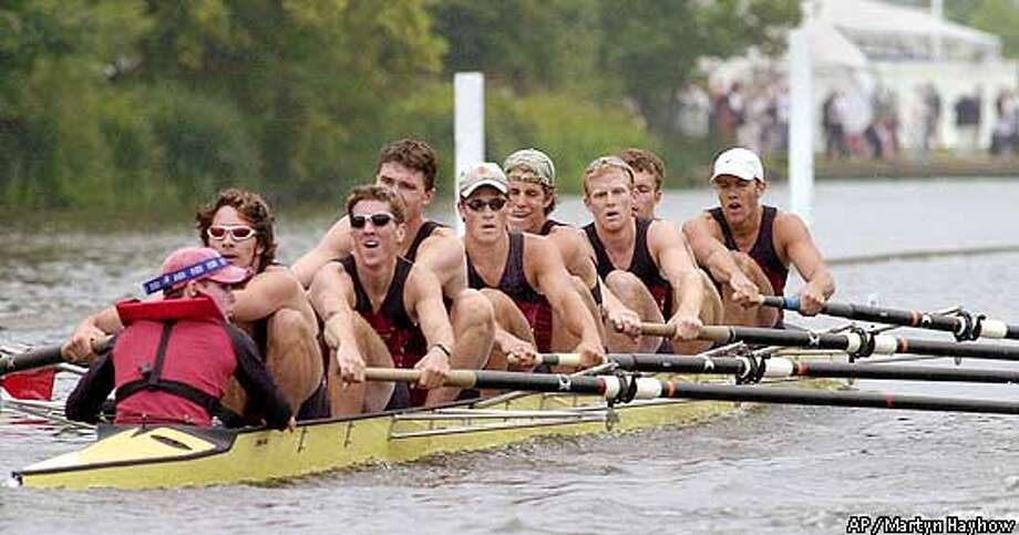 J.Oberst the cox of USA Harvard University 'A' crew, looks across the course to see how his crew were doing in their 1.75 length win against the National University of Ireland crew from Galway in their heat of the Temple Challenge Cup, at Henley Royal Regatta, Friday, July 6, 2001. From left, J. Oberst; K. McDaniel; W. Riffelmacher; J. Lehe; A. Webb; C. Winklevoss; J. Durham; M. Hall and J. Bosley. (AP Photo/ Martyn Hayhow) Photo: MARTYN HAYHOW