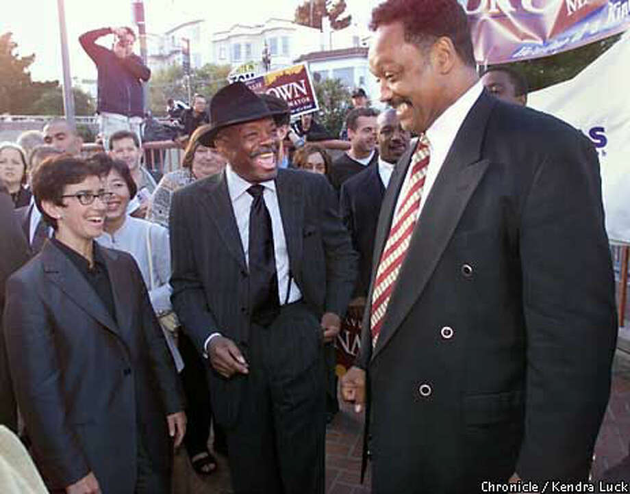 Mayor Willie Brown and the Rev. Jesse Jackson greeted people along Castro Street.  Chronicle Photo by Kendra Luck