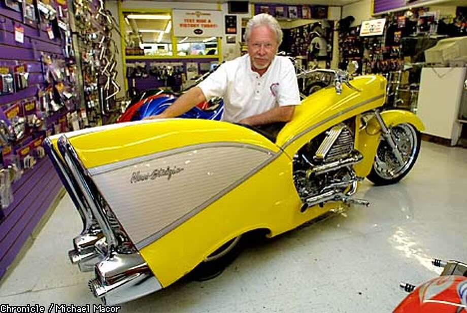 Arlen Ness posed in his San Leandro shop with his creation, the Ness-Stalgia, which was inspired by the classic 1957 Chevrolet. Chronicle photo by Michael Macor