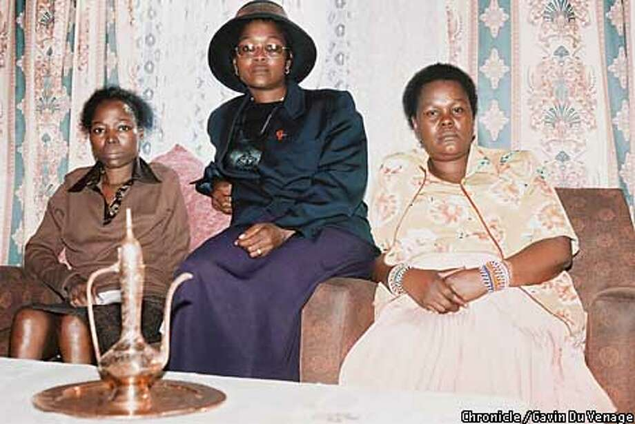 Adelaide, left, Elizabeth and Delphi Ntsele at the Soweto home where Solomon Linda once lived. Photo by Gavin du Venage, special to the Chronicle
