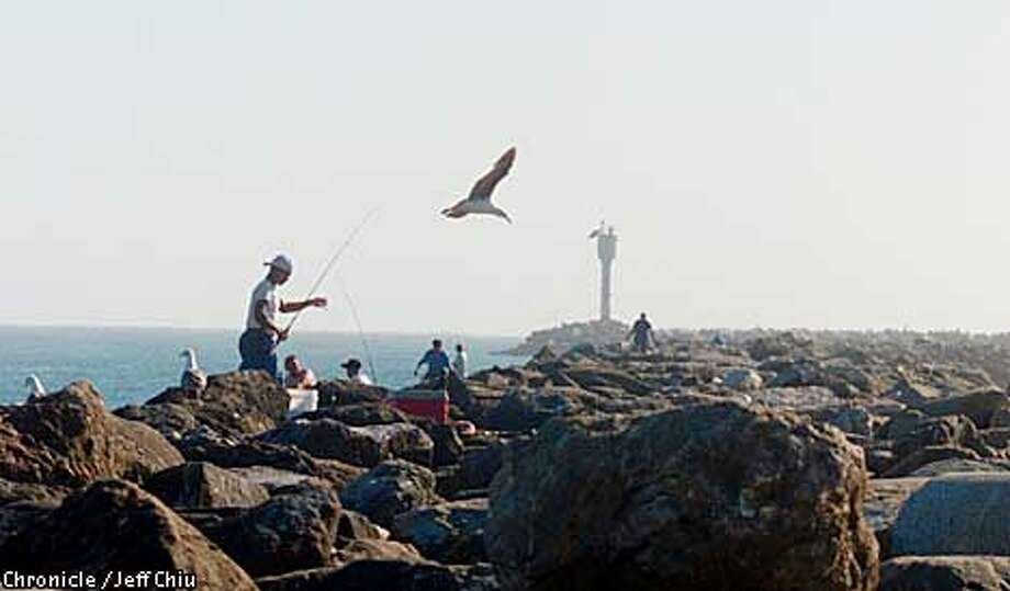 People fish along the coastline of San Mateo County on Thursday afternoon, which contains Half Moon Bay and El Granada among other cities. Photo by Jeff Chiu / The Chronicle. Photo: Jeff Chiu
