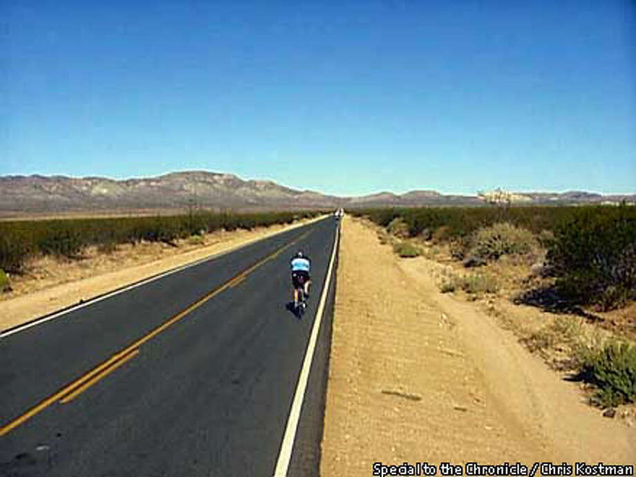 A cyclist pedalled across the Mojave Desert and headed for the Tehachapi Mountains as he competed in the grueling Furnace Creek 508-mile race Special to the Chronicle by Chris Kostman