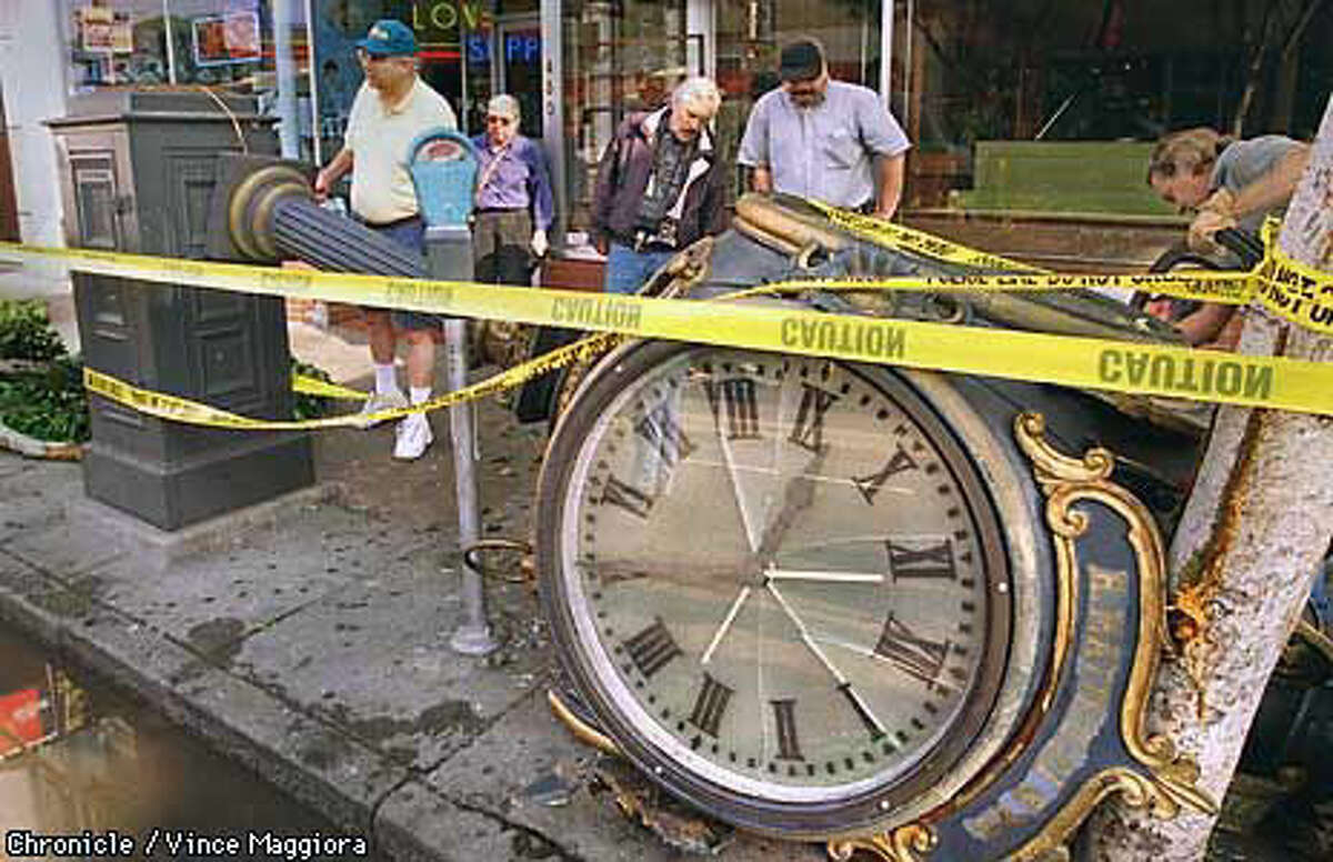 The street clock in front of R. Matteucci & Co. may have been damaged beyond repair. Chronicle Photo by Vince Maggoria