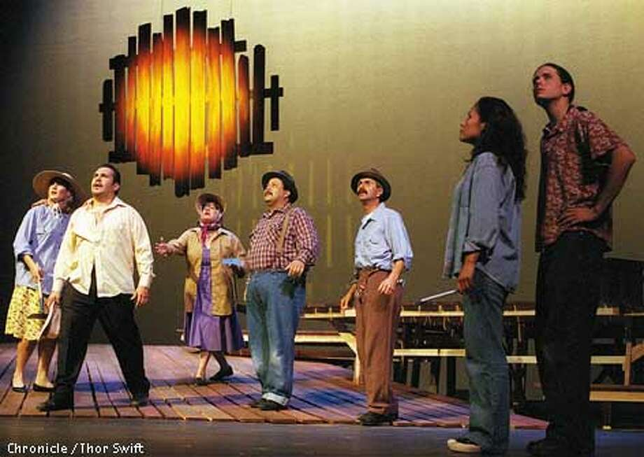 HARVEST12B/C/05OCT99/DD/TS -- (left to right) Gloria Pantoja, as Gloria, Ron Obregon, as Ruben, Elizabeth Vasquez, as Lupe, Felipe Rodriguez, as Soto, Durand Garcia, as Henry, Anna Maria Luera, as Mariluz and Jacob Vega, as Cuauhtemoc, perform the play Harvest Moon at Teatro Vision in San Jose.  BY THOR SWIFT/THE CHRONICLE Photo: THOR SWIFT