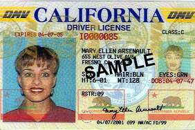 An example of a California driver's license.