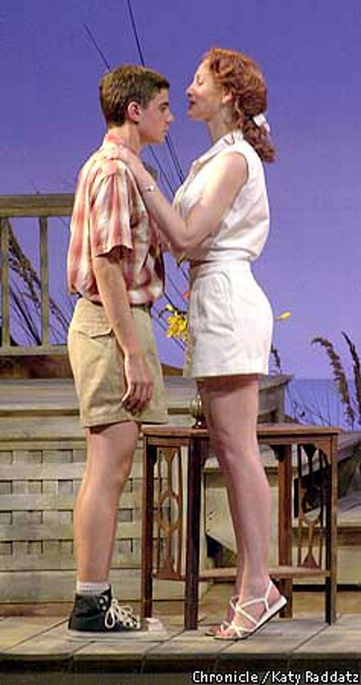 """SUMMER25E-C-20JUN01-DD-RAD Photo by Katy Raddatz--The Chronicle """"Summer of '42"""" the musical playing at the Mt. View Center for the Performing Arts. SHOWN: Kate Jennings Grant as Dorothy, Ryan Driscoll as Hermie. Dorothy is about to kiss Hermie, chastely, on the forehead to thank him for his help moving boxes. Rob Hurwitt reviews."""