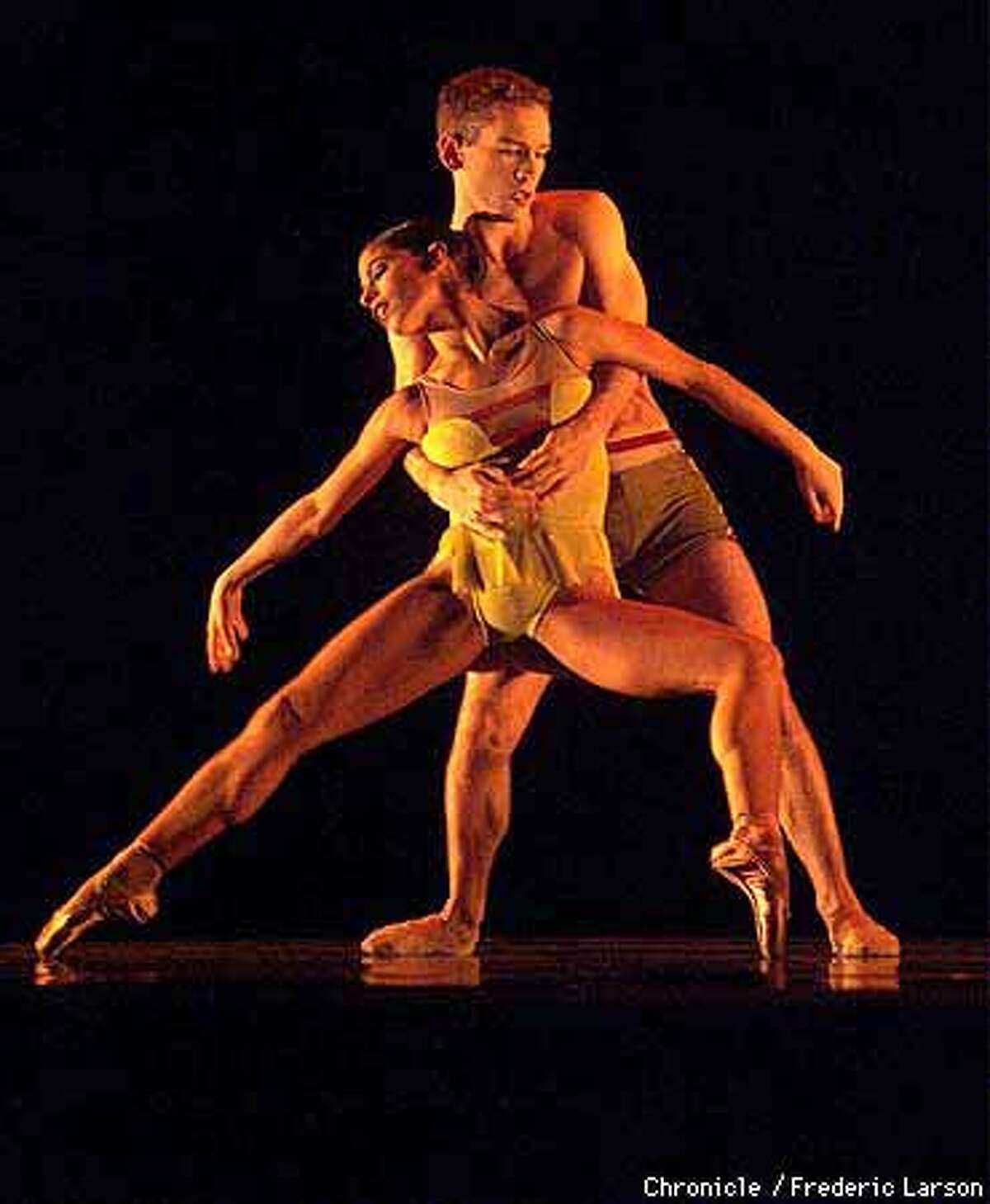 Jenna McClintock and Ben Barnhardt performed in Alonzo King's ``Hovering Slightly Above Ground'' as the Oakland Ballet opened its season. Chronicle Photo by Frederic Larson