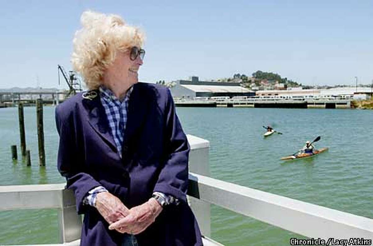 Activist Julia Viera, 74yrs, and is the one responsible for the small boat ramp and facilities at Islais Creek, stands proudly on the ramp, Thursday June 21, 01, in San Francisco. Photo By Lacy Atkins/SanFrancisco Chronicle
