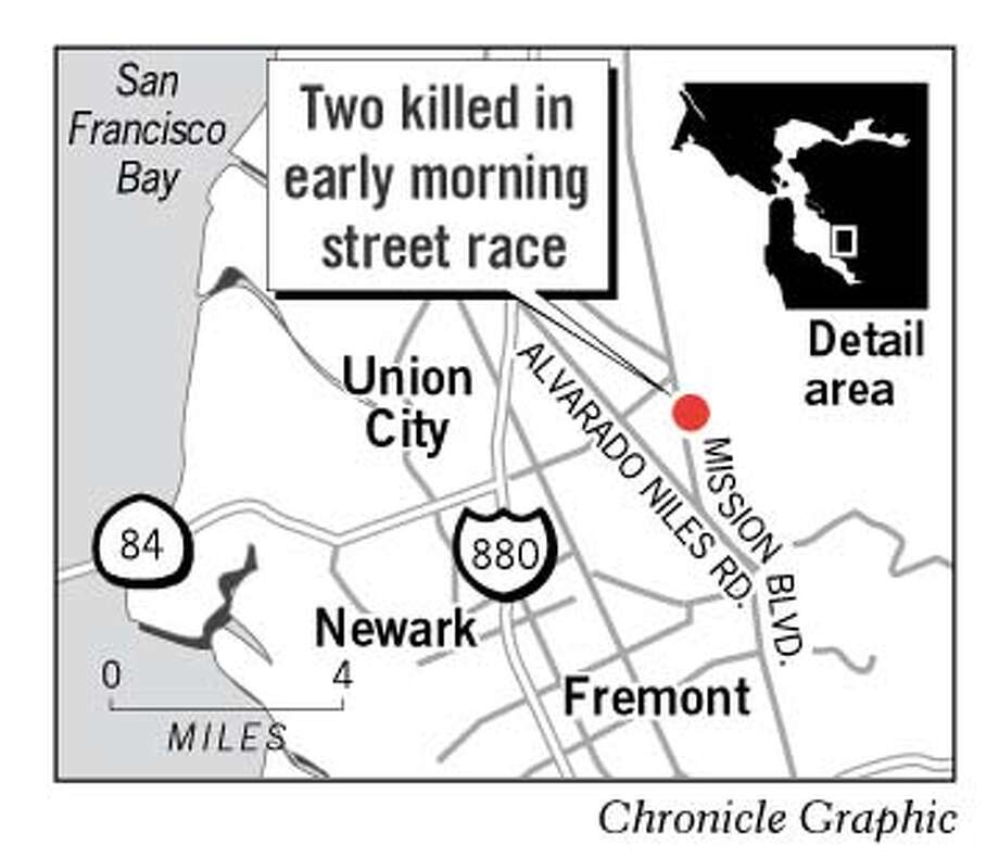 Two Killed in Early Morning Street Race. Chronicle Graphic
