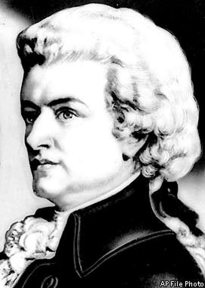 FILE--Composer Wolfgang Amadeus Mozart is shown in this undated file photo. The latest theory surrounding Mozart's untimely death at age 35 suggests the culprit was likely trichinosis, says a report in the June 11, 2001 issue of Archives of Internal Medicine. (AP Photo/File)