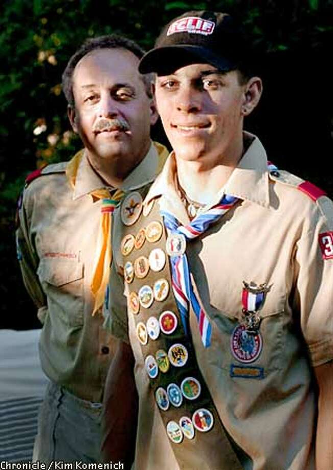 """SCOUTS18a-C-13JUN01-DD-KK  Steven Cozza, 16, of Petaluma is a subject of the PBS documentary """"Scout's Honor"""". Steven's dad Scott, an adult scout leader, stood by him as he fought for the right to be gay and be in the Boy Scouts.  CHRONICLE PHOTO BY KIM KOMENICH Photo: Kim Komenich"""