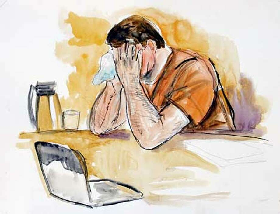 Artist's sketch of Cary Stayner breaking down Wednesday, June 13, 2001 during the prelimniary hearing at the Mariposa County Courthouse in Mariposa California . Photo: JOAN LYNCH
