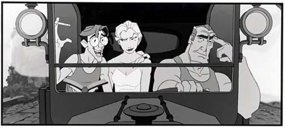 Milo Thatch (left, voice of Michael J. Fox) explains his theories about Atlantis to Commander Rourke and his shadowy lieutenant Helga Sinclair.