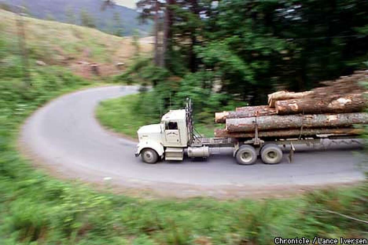 A logging truck makes his way down to the mill in Scotia from Pacific Lumber Co, land that's being harvested west of town. Land owners adjacent to the Mattole River marched on the company offices friday to lodge their dissatisfaction regarding clear cutting above the Mattole River. Erosion up stream over the years as deposited tons of gravel into the river, Changing it's course and trapping much of the water under gravel. By LANCE IVERSEN/SAN FRANCISCO CHRONICLE