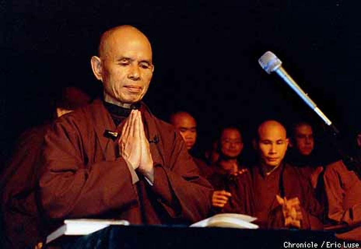 Thich Nhat Hanh, Buddhist during his appearance in Oakland at the Howard Thurman Ritual Center. BY ERIC LUSE/THE CHRONICLE