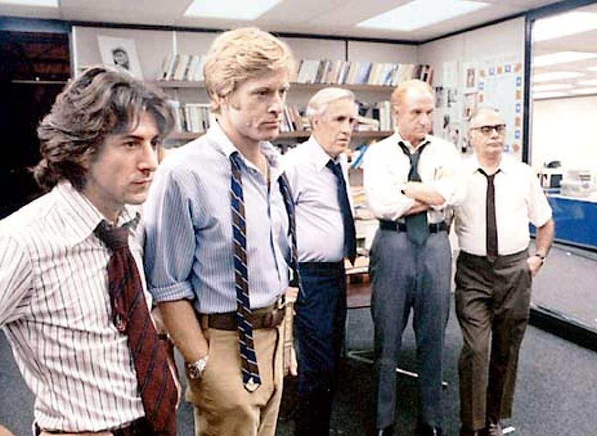 """FILE--Jason Robards, third from the left, appears in a scene from the 1976 movie, """"All the President's Men, """" in this undated file photo. Robards won a Best Supporting Actor Academy Award for his portrayal of Washington Post Executive Editor Ben Bradlee. Other members of the cast pictured are, from the left, Dustin Hoffman, Robert Redford, Jack Warden and Martin Balsam. Robards, the veteran stage and screen actor died Tuesday, Dec 26, 2000, at Bridgeport Hospital in Bridgeport, Conn. after battling cancer. He was 78. (AP Photo/File)"""