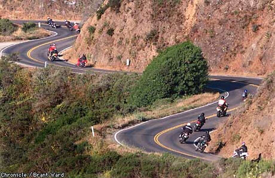Motorcyclists take the winding road west to Stinson Beach after leaving Mill Valley. For more than 20 years, a group of motorcyclists has gathered for a ride on Sunday morning in Marin County. By Brant Ward/Chronicle Photo: BRANT WARD