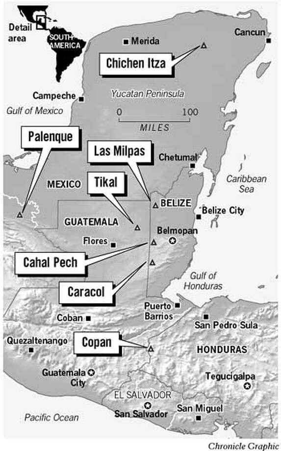 Maya Cities. Chronicle Graphic