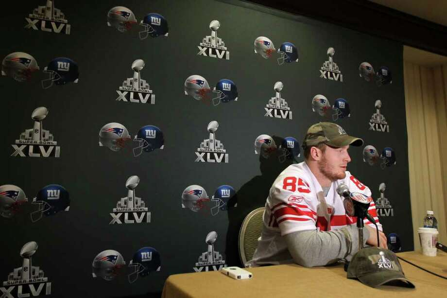 INDIANAPOLIS, IN - FEBRUARY 01:  Jake Ballard #85 of the New York Giants answers questions from the press during a media availability session for Super Bowl XLVI at the Indianapolis Downtown Marriott on February 1, 2012 in Indianapolis, Indiana.  (Photo by Andy Lyons/Getty Images) Photo: Andy Lyons