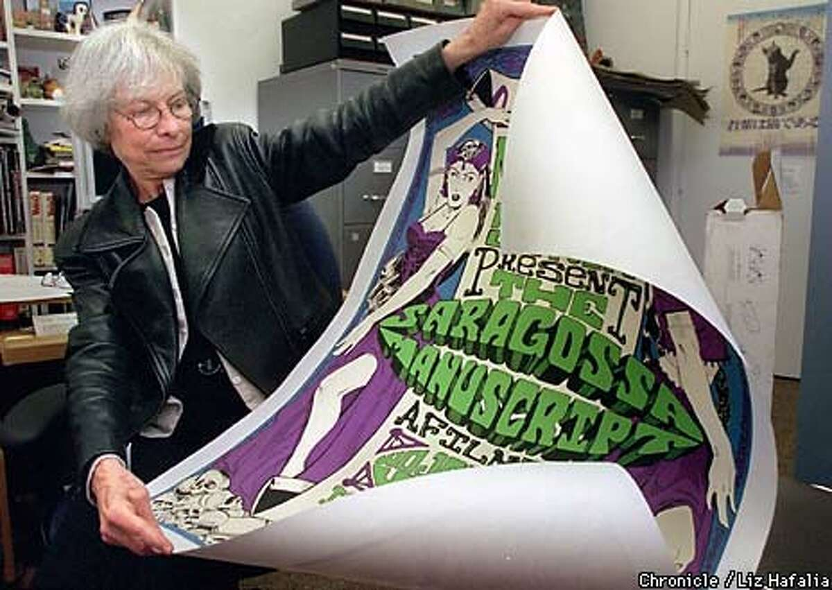 Edith Kramer of the Pacific Film Archive unrolled a poster for ``The Saragossa Manuscript,'' Jerry Garcia's favorite film. Kramer spent years tracking down a copy of the original print. Chronicle Photo by Liz Hafalia