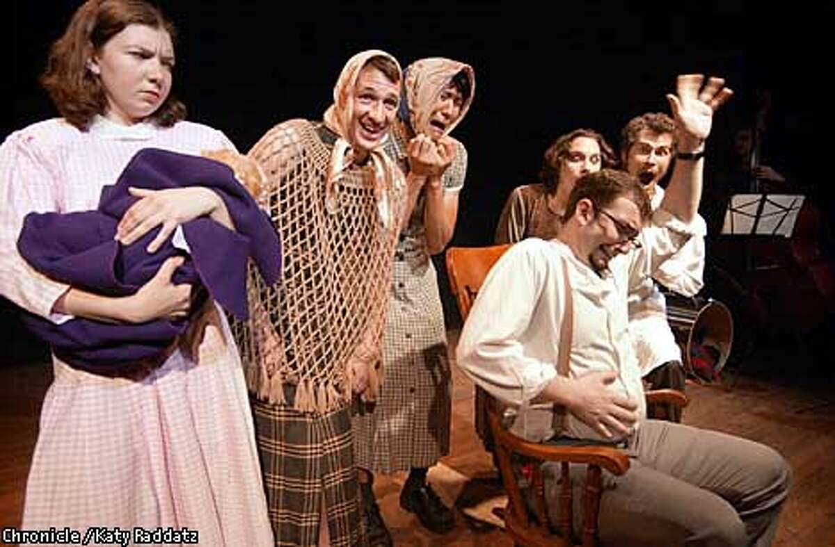 Photo by Katy Raddatz--The Chronicle Story about what becomes of intellectual property of failed dot coms. SHOWN: Marc Vogl (with beige scarf and net top, second from left) acting with local comedy troupe called Killing My Lobster--Marc is former director of content for Scout Electromedia. Vanessa Hua is the writer.