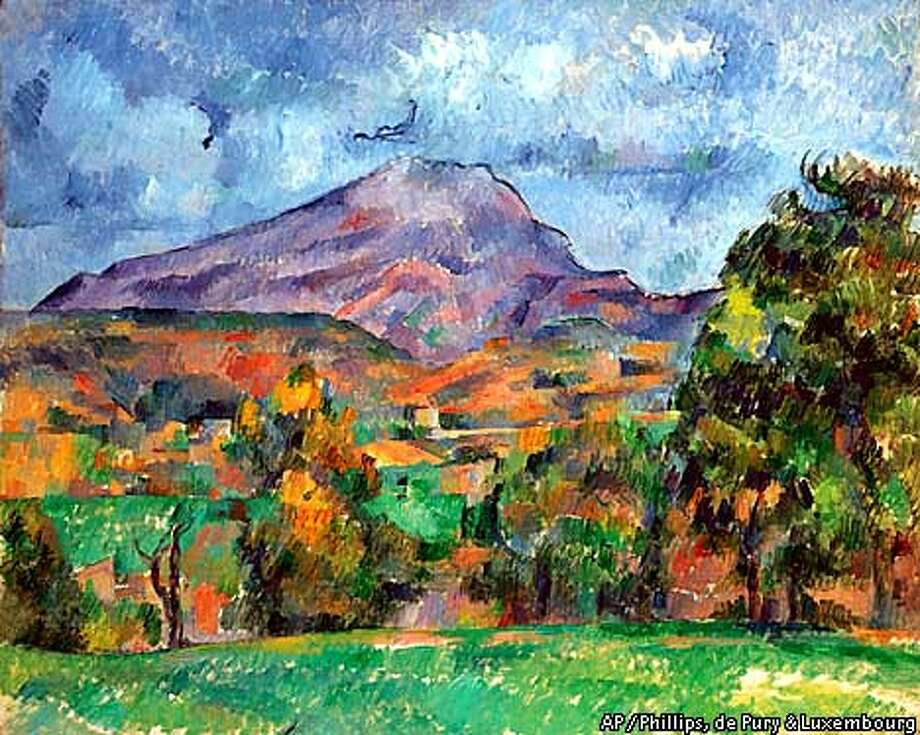 "Paul Cezanne's painting, ""La Montagne Sainte-Victoire,"" circa 1888-1890, is scheduled to be auctioned at Phillips, de Pury & Luxembourg auction house Monday, May, 7, 2001, in New York. This Cezanne is the star of the Phillips collection of art owned by Berlin dealer Heinz Berggruen. (AP Photo/Phillips, de Pury & Luxembourg)"