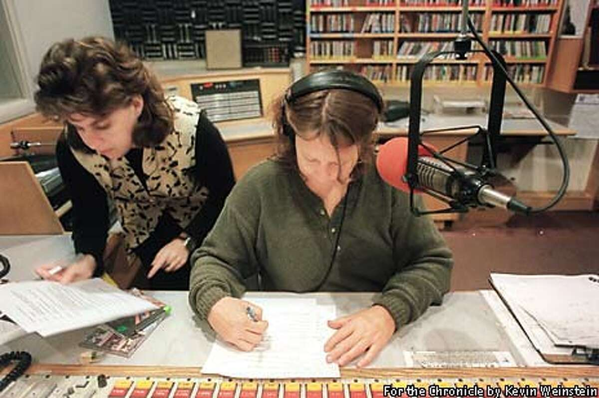 Engineer Barbara Fisher, left, put KPFA on the air yesterday at 7 a.m For the Chronicle by Kevin Weinstein