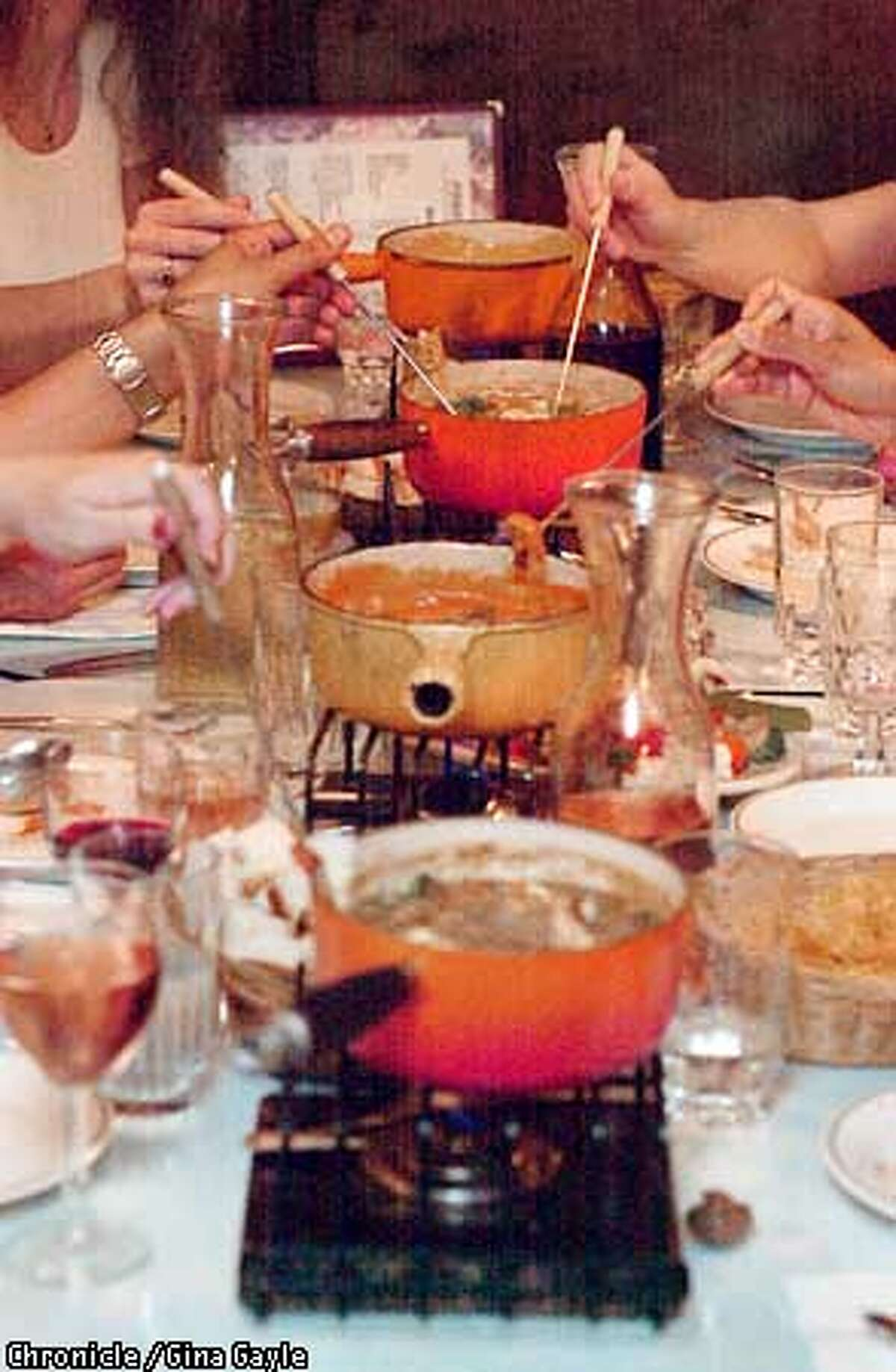 A variety of fondues are presented for dinner at Fondue Fred's in Berkeley.