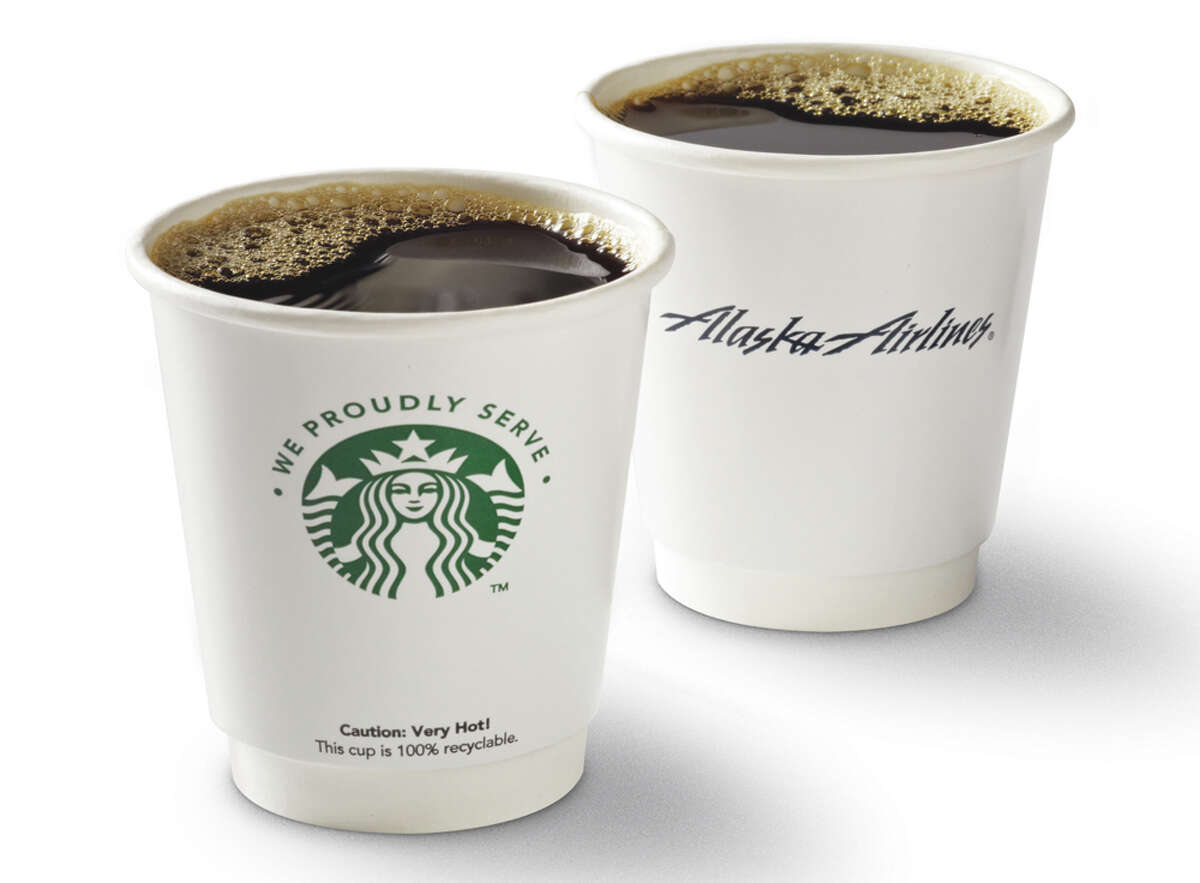 New Alaska Airlines Starbucks coffee cups.