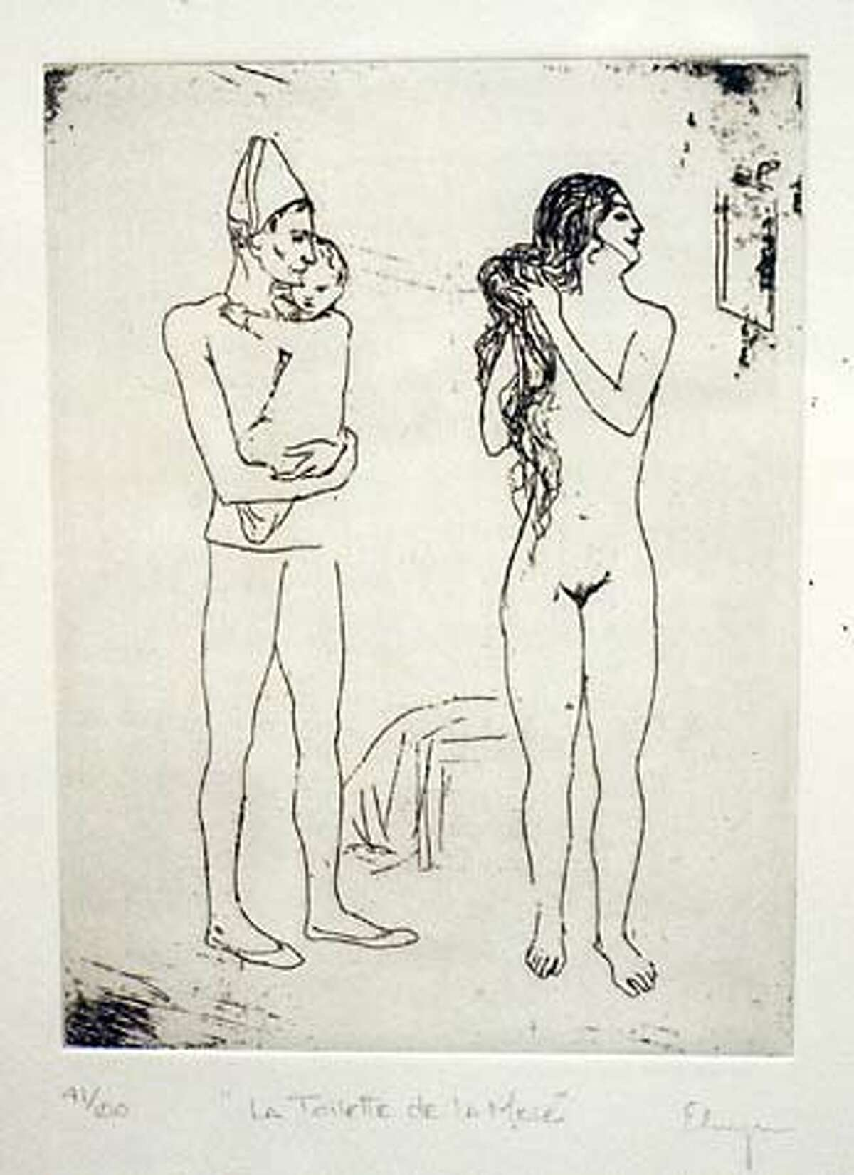 Elmyr de Hory's etching based on Pablo Picasso's 1905
