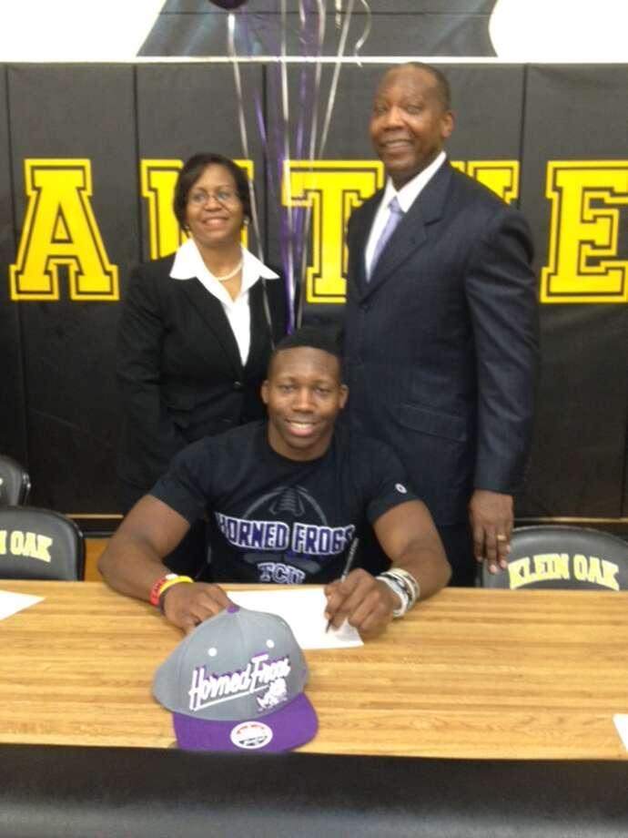 Klein Oak High linebacker A.J. Hilliard has signed to play football at TCU.  Photo: Handout Photo