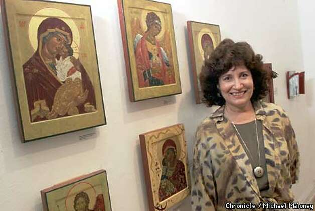 Icon painter Sophia Tsavalas blends traditional Greek art with images from other cultures. Chronicle Photo by Michael Maloney