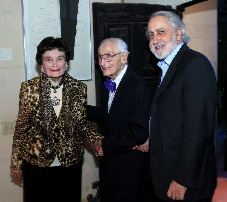 Lila Cockrell (from left) joins Bill Sinkin and Lanny Sinkin during her birthday celebration at The Tobin Estate. Photo: J. Michael Short, For The Express-News / THE SAN ANTONIO EXPRESS-NEWS