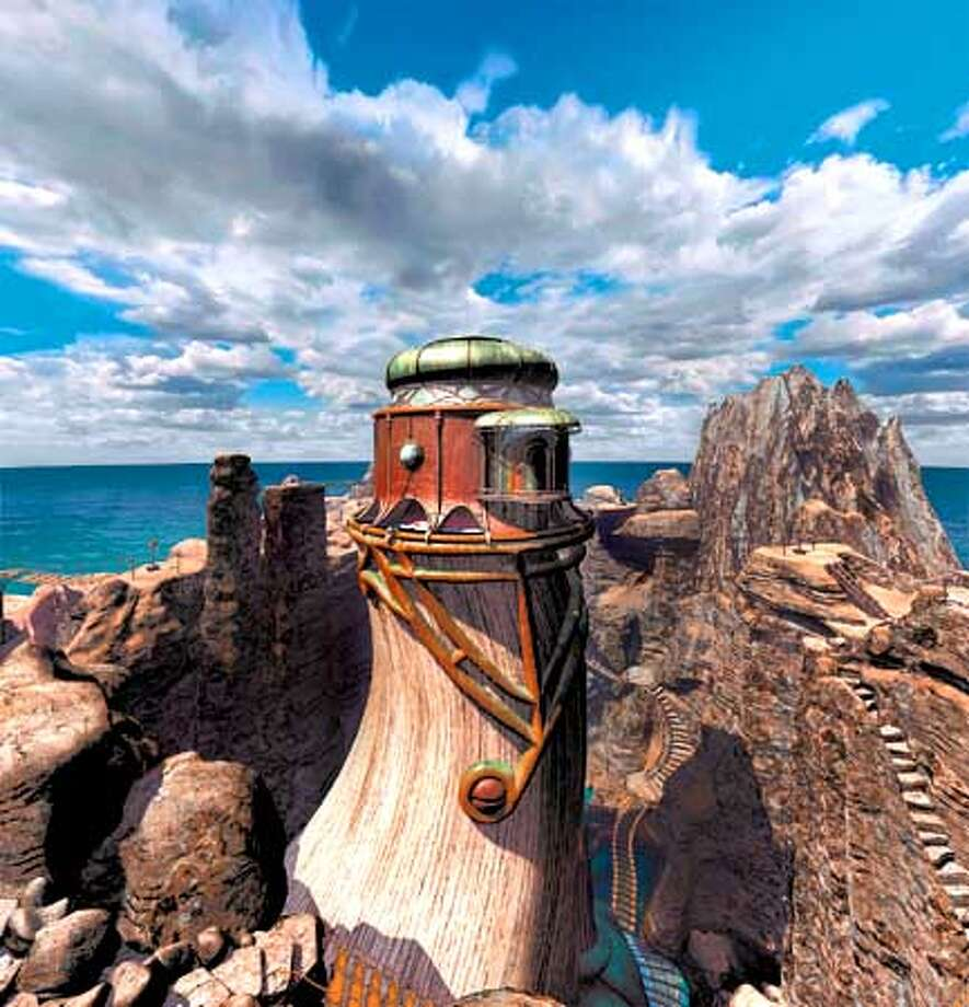Towers that resemble enormous animal tusks are part of the alien yet familiar landscape in Myst III: Exile