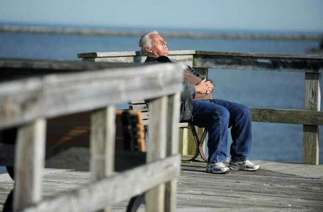 Bob catches some rays at Short Beach Park in Stratford, Conn. Wednesday, Feb. 1, 2012, an unseasonably mild day. Photo: Autumn Driscoll / Connecticut Post