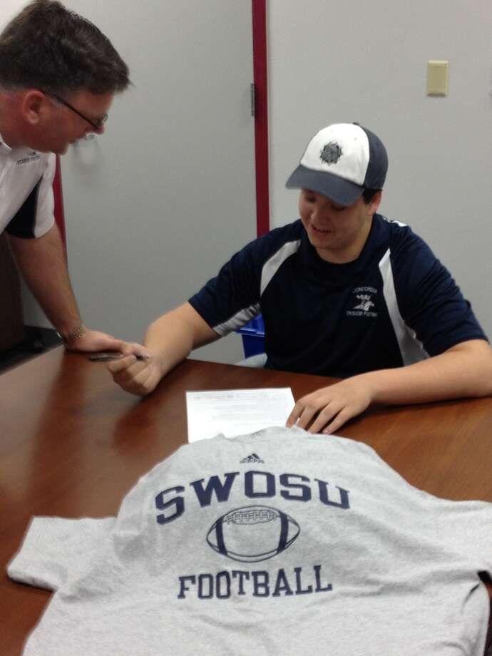 Jake Lowrey, an offensive lineman at Tomball Concordia Lutheran High, signed a national letter of intent to play at Southwestern Oklahoma State University. Photo: Handout Photo