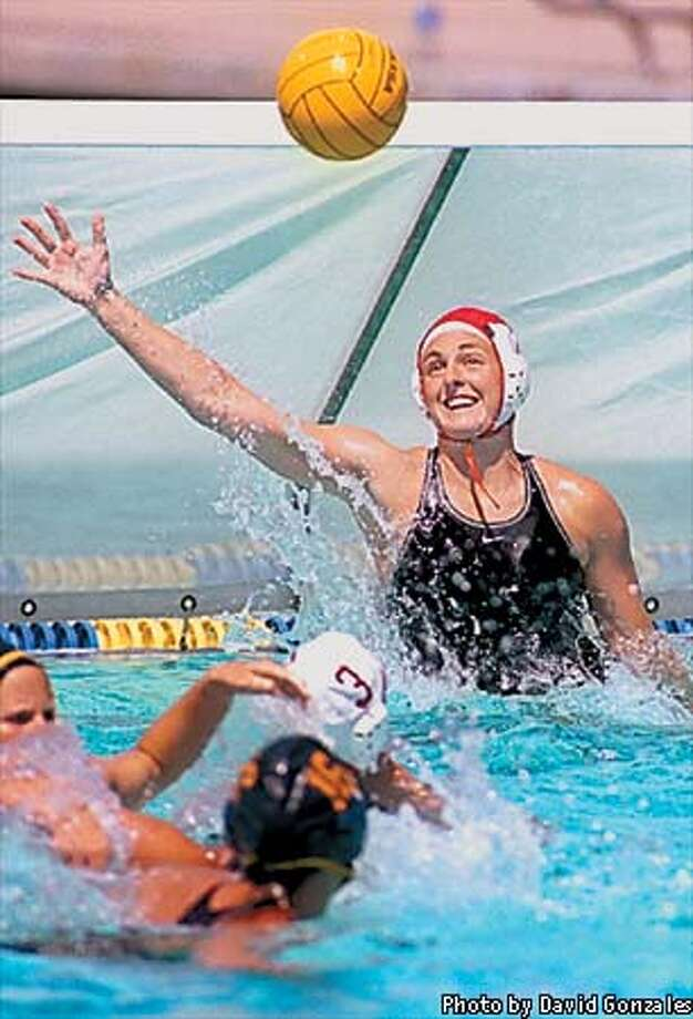 Jackie Frank has made 142 saves in 23 games for Stanford's unbeaten women's water-polo team. Photo courtesy of David Gonzales